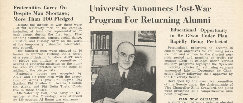"Scan of a newspaper featuring Chancellor Tolley after World War II titled ""university annouces post-war program for returning alumni"""
