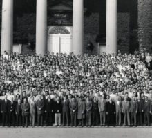Student Veterans in front of Hendricks Chapel in 1947