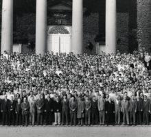 Student Veterans in front of Hendricks Chapel in 1947