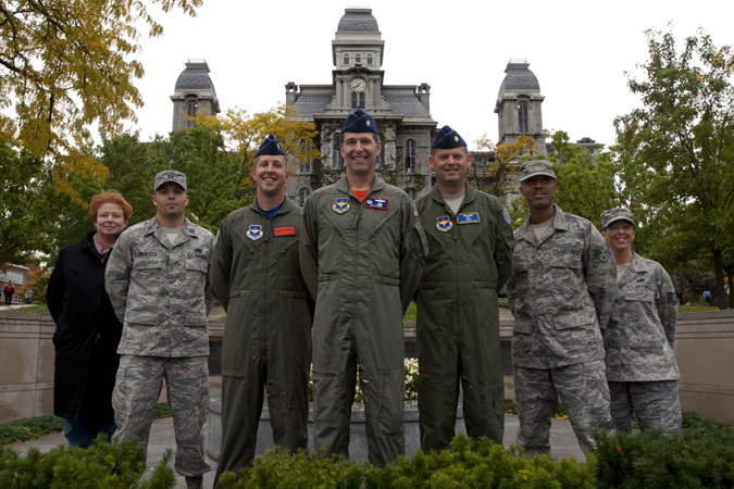 AFROTC Cadre standing in front of Hall of Languages