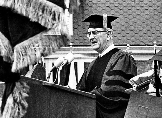 President Johnson at the dedication of S.I. Newhouse School of Public Communications at Syracuse