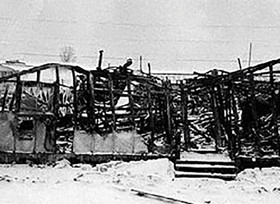 Burned down barracks.