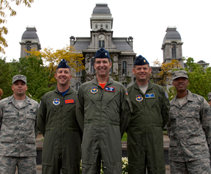 ROTC Cadre standing in front of Syracuse University's Hall of Languages.