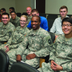 Army ROTC cadets seating.