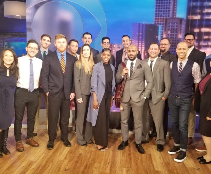 Student veterans in NYC with CBS Staff for Syracuse University's immersion trip.