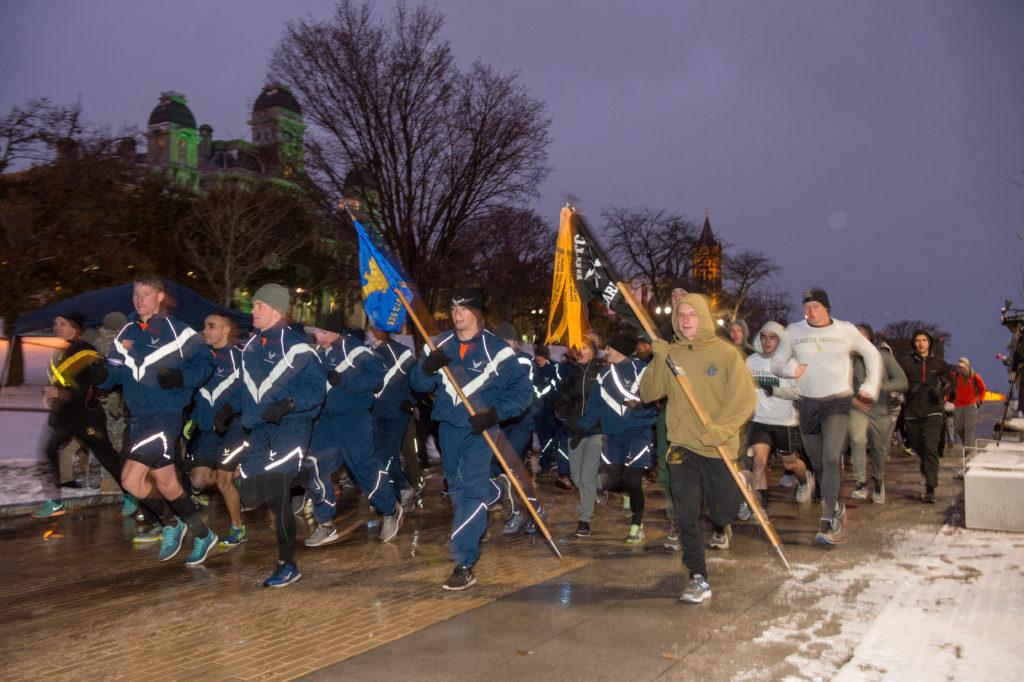 ROTC cadets running the Veterans Day 2017 5K Fun Run
