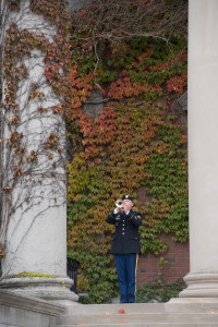 Trumpet player at 2013 veterans day ceremony.