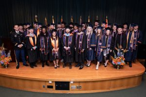 Student veterans at their commencement