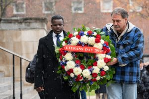 Veterans day wreath lying.