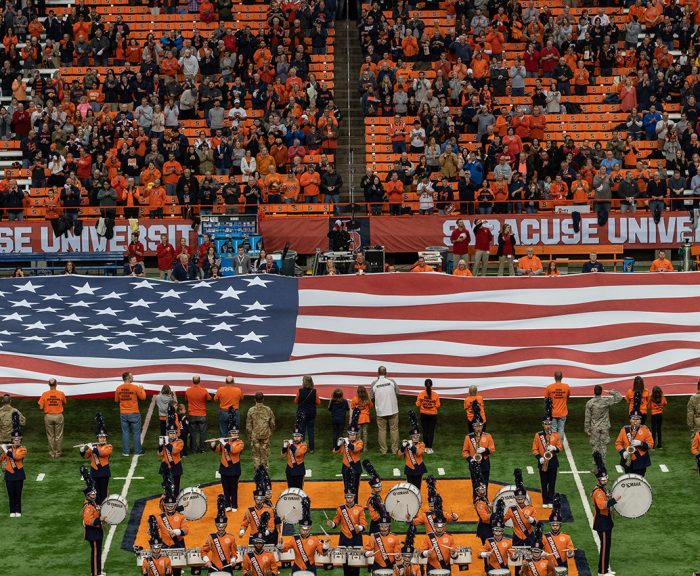 Giant American Flag on Syracuse University's Dome football field.