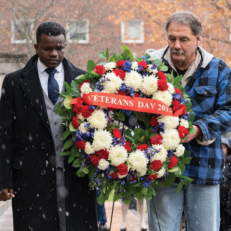 wreath on veterans day.