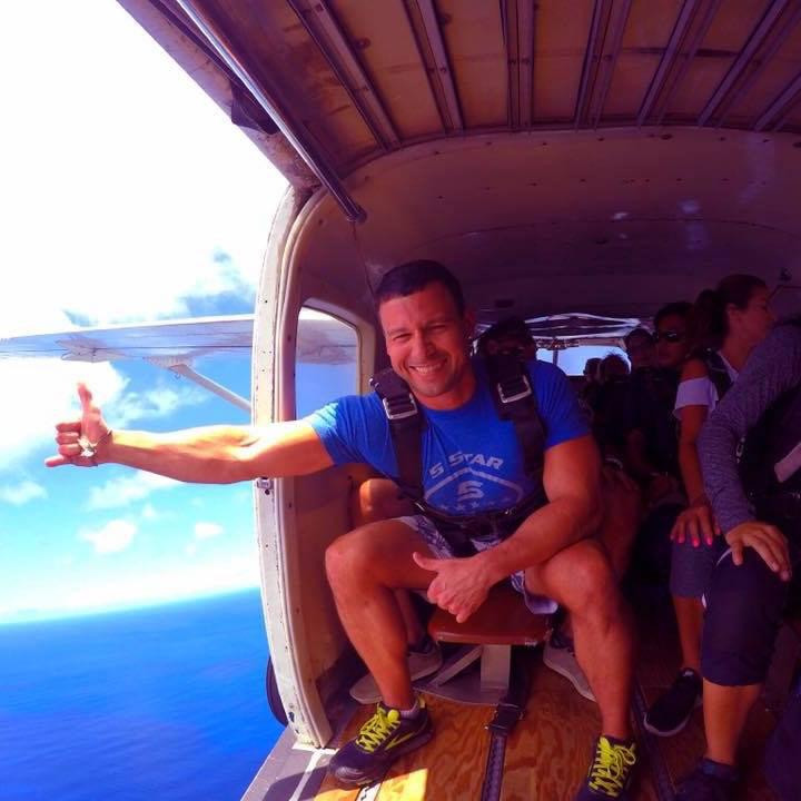 Jay Knight sky diving.