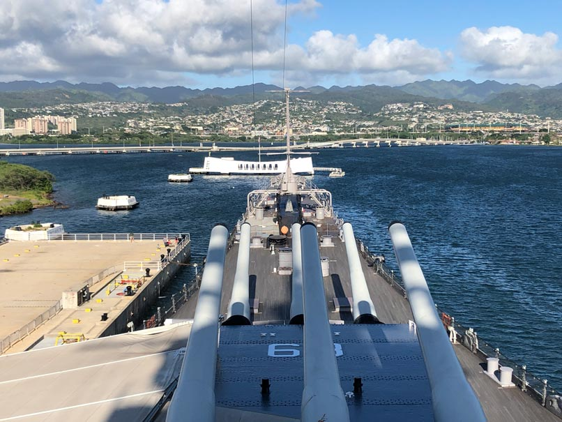 View of USS Arizona from the USS Missouri.