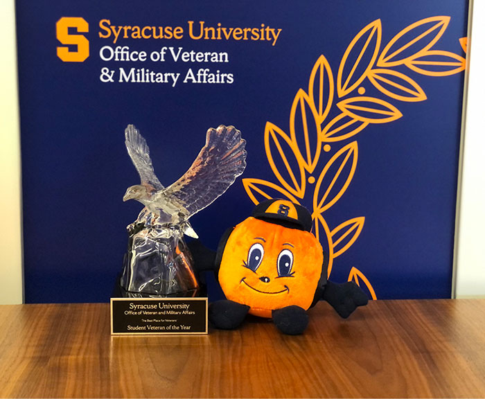 Picture of student veteran of the year trophy.