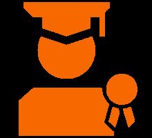 Orange graduate icon