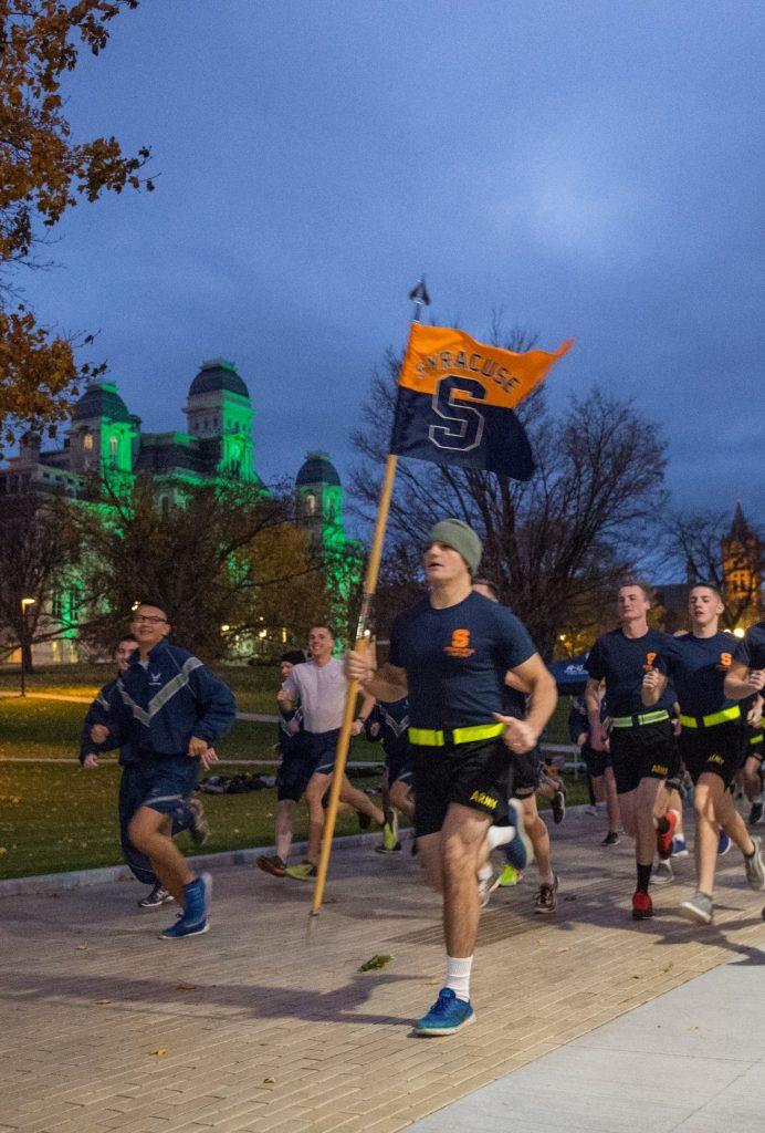 AFROTC cadets running.