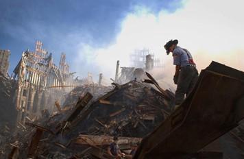 Fireman in rubble