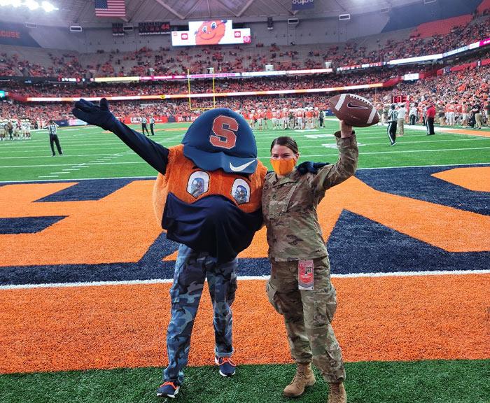 Kristen Hughes with Otto on dome field.